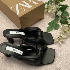 Zara New Black Quilted Leather Mules Shoes, nwt